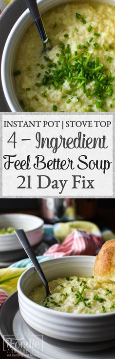 This easy quick 21 Day Fix approved Feel Better Soup is the most deliciously comforting thing that you can make with four ingredients. Comes together in about 10 minutes and can be made in an Instant Pot or on the stove top! Lunch Recipes, Healthy Dinner Recipes, Soup Recipes, Healthy Soup, Sweets Recipes, Fall Recipes, Healthy Meals, Diet Recipes, Instant Pot Pressure Cooker