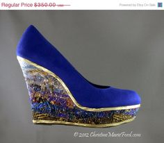 HOLIDAY SALE Wearable Art Shoes Size 9 1/2 Upcycled OOAK - Eden - christinemarieford