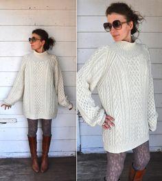 Unisex Chunky Cable Hand Knitted Wool Sweater // Fisherman // Ireland Irish // Ivory Cream // Winter Warm size L - XL