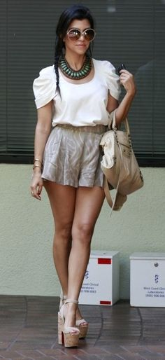 Kourtney Kardashian Style - I love the High waisted short shorts, it's like wearing a cute little skirt, but you don't have to worry as much about flashing everyone all the time  XD