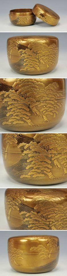 Japanese tea caddy, Kin-Makie gold laquer wear, ◎住吉蒔絵平棗 春斎作( 鵬雲斎箱書付)