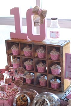 Rustic Wooden Crate used to display cupcakes at rustic milk and cookie sweet table birthday party
