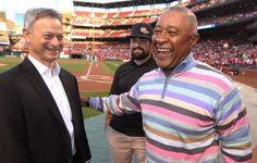 Former St. Louis Cardinals shortstop and member of the National Baseball Hall of Fame Ozzie Smith (R) says hello to actor Gary Sinise before a game between the Philadelphia Phillies and the St. Louis Cardinals at Busch Stadium in St. Louis on April 28, 2015.Sinise was on hand to promote the Gary Sinise Foundation and their work providing Smart Homes to veterans in need. Pictured is Marine Corporal Nick Kimmel who is being supported by the foundation. Photo by Bill Greenblatt/UPI