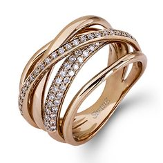 Fabled Collection - This fabulous 18K rose gold band is comprised of .58ctw round white Diamonds. - MR2329