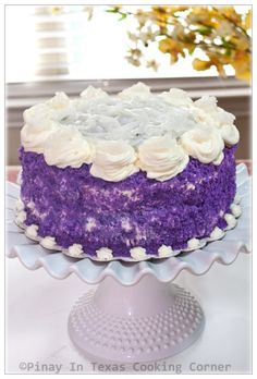 Pinay In Texas Cooking Corner: Authentic Filipino Recipes ~ Ube Macapuno Cake: purple yam and young coconut. I want to make this for my grandparents! They were born and raised in the Philippines - this will be like a taste of home! Pinoy Dessert, Filipino Desserts, Asian Desserts, Filipino Recipes, Filipino Food, Filipino Dishes, Pinoy Food, Filipino Culture, Unique Desserts
