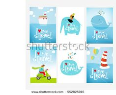 stock-vector-vector-set-of-posters-i-love-to-travel-with-cartoon-characters-funny-animals-ocean-sea-ship-552825916.jpg (450×371)