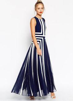 Polyester Geometrisch Ärmellos Maxi Elegant Kleider