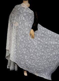 ISHIEQA's Off White Georgette Chikankari Dupatta - KL0101D White Chiffon, White Cotton, Types Of Stitches, Black B, Thread Work, White Fabrics, Kurti, Off White, Pure Products