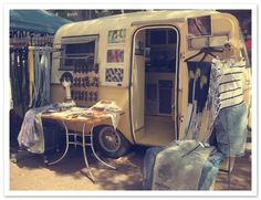Lune Vintage traveling shop... a mother of two and owner of an online and mobile vintage shop, which runs every summer out of a 1976 boler trailer. #inspiring