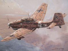 """Der Erstflug der Ju 87 V1 erfolgte am 17. September 1935. Drei Jahre später wurde ein Dutzend der zu diesem Zeitpunkt noch hochgeheimen Ju-87 A und B im Spanischen Bürgerkrieg bei der 5. Staffel der Jagdgruppe 88 (5. J/88) der Legion Condor eingesetzt. Die 366 bei Kriegsausbruch 1939 einsatzbereiten Flugzeuge verfügten, neben den signifikanten Knickflügeln und """"Jericho-Trompeten"""", über größere Seitenleitwerke, neue Fahrwerksverkleidungen und verbesserte Kabinen."""