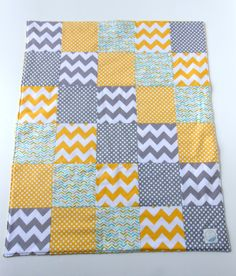 Layout for fat quarter bundle: Baby Patchwork Quilt Blanket Riley by KristensCoverlets.backed with yellow minky