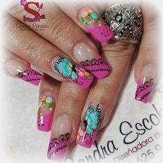 442 Me gusta, 10 comentarios - Sandra Escobar. (@sandraescobar78) en Instagram Crazy Nail Art, Crazy Nails, Nail Art Diy, Diy Nails, Butterfly Nail Designs, Finger, Nail Art Techniques, Beauty Make Up, Hair Beauty