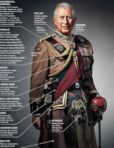 Wearing the regimental dress of the Toronto Scottish Regiment (Queen Elizabeth The Queen's Mother Own) of which he is Colonel-in-Chief, Prince Charles stares regally at the camera