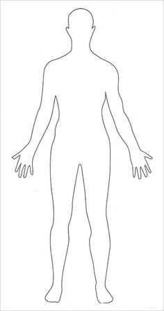 Fan image for printable outline of human body front and back