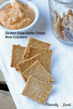 Delightfully crunchy and thin, these gluten-free garlic crispy rice crackers take less than 30 minutes to make from start to finish! @NaturallyLoriel