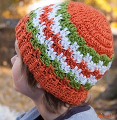 Leaping Stripes and Blocks Beanies :: Free #Crochet Pattern in 5 sizes for the whole family!