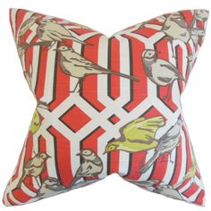 Bela Aviary Feather Filled Poppy Throw Pillow (18-inch), Multi, Size 18 x 18 (Cotton, Animal)