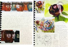 An example of two A Level Art sketchbook pages analysing the work of artist Janet Fish.