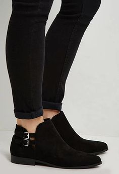 Buckled Faux Suede Ankle Booties   Forever 21   #stepitup