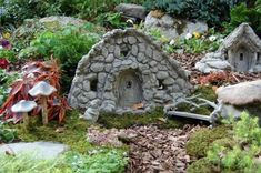 Make a miniature stone fairy house – DIY projects for everyone! Fairy Garden Houses, Gnome Garden, Garden Art, Garden Homes, Garden Cottage, Garden Design, Fairy Doors, Stone Houses, Miniature Fairy Gardens