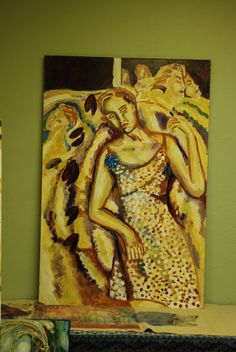 Dreaming Woman an acrylic painting by Karin Teresa fain copyright 2005. ALL RIGHTS RESERVED