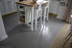 painted tile floor-six months later ~ Make Do and DIY - Plancher à peindre - Painted floor tiles Painting Kitchen Tiles, Painting Ceramic Tiles, Painting Tile Floors, Painted Floors, Painting Cabinets, Painted Tiles, Timber Flooring, Diy Flooring, Parquet Flooring