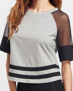 56a05344b88 Splicing mesh t shirt color block raglan sleeve tops for women