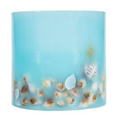 "Blue Shell LED Pillar Candle with Timer - 5"" x 5"""