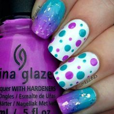 White nails with purple and blue dots :)