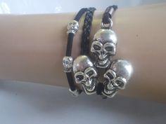 Bracelet black bracelet skull bracelet man's by IriscaJewelry, $5.90
