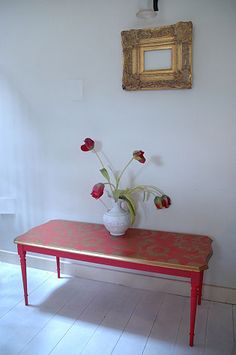 Vintage Restored Red Lace Table from Ghost Furniture