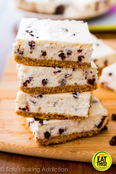 Skinny Chocolate Chip Cheesecake Bars from Ally's Baking Addiction. indulge with ease! This recipe isn't high in fat or calories.