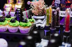Storm Trooper Floral Arrangement from a Star Wars Glow in the Dark Birthday Party via Kara's Party Ideas