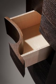 """""""Iasc"""" - drawer in figured maple with Fumed Oak front."""