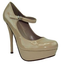 Delicious Women Platform Mary Janes Strap Heel Pumps Round Toe ZAPPA Beige Nude Patent 10 <3 This is an Amazon Associate's Pin. Details on product can be viewed on Amazon website by clicking the VISIT button.
