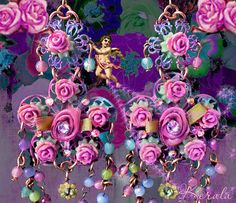 Pastel Flower Chandelier Earrings, Sweet Feminine Pink and Pink Roses, Fantasy Jewelry, Shabby-Chic- MTO