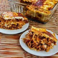 Baked Whole Wheat Spaghetti Casserole with Turkey Italian Sausage and Mozzarella