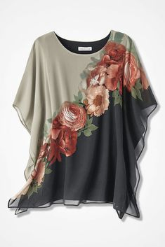 Find classic and comfortable women's plus size shirts at Coldwater Creek.A sophisticated statement, this slipover poncho-style tunic showcases exquisitely detailed blossoms front and back.Explore a timeless collection of women's plus size tunics at C Plus Size Shirts, Blouse Styles, Blouse Designs, Latest Fashion For Women, Fashion Online, Women's Fashion, Black Blouse, Short Sleeve Blouse, Long Sleeve
