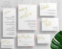 Printable Gold Foil Wedding Invitation Suite by TheHomeGirlsEtsy