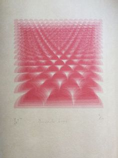 6 layer Risograph layered onto Atsukuchi paper: a lightweight yet exceptionally strong Japanese printmaking paper #pink #geometric #risograph #contemporaryart #design #shapes