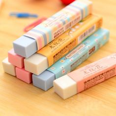 This pastel color pencil eraser will fit into your pencil case perfectly thanks to its slim shape It is cute but stylish and proves that erasers don t have to be boring Size 8 x 1 Color is random School Stationery, Stationery Items, Kawaii Stationery, Stationary Store, Stationary Supplies, Art Supplies, Cute Desk Organization, College Organization, Cool School Supplies
