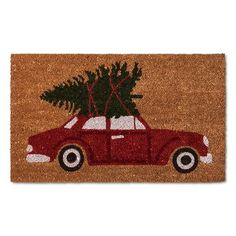 Red Car Holiday Doormat - (1'6