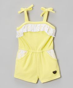 Another great find on #zulily! Juicy Couture Yellow & White Ruffle Terry Tie Romper - Toddler & Girls by Juicy Couture #zulilyfinds