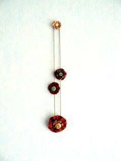 Collier Textile et Cabochon en Porcelaine,Fleurs Lin Couleur Rouille et Bronze, Femme Romantique Bohême Chic : Collier par mon-armoire-jolie