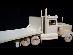 Wood Toy Flatbed Trailer and Semi Truck Combo