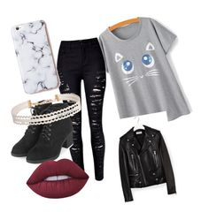 """""""Untitled #19"""" by micaelaloto on Polyvore featuring Yves Saint Laurent, Topshop, Humble Chic and Lime Crime"""