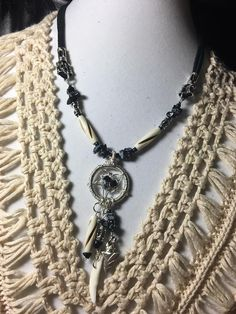Handmade Native American Inspired genuine Snowflake Obsidian Carved Bovine Bone Coyote tooth .999 Silver Arrowhead Dreamcatcher Necklace by WishboneJewelryCraft on Etsy