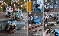Cute owls using felt & pine cones