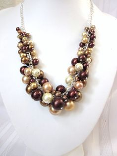 Pearl Cluster Necklace - Shades of Brown and Gold - Chunky, Choker, Bib, Necklace, Wedding, Bridal, Bridesmaid, Prom, Formal. $42.50, via Etsy.