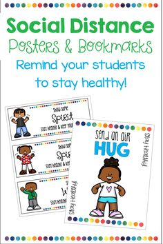 Remind your students to stay healthy while keeping socially distant. This set include 13 different ways to be friendly while staying apart. There are two posters (boy or a girl) so you can mix and match to suit your needs. There are also 26 different color or black and white bookmarks and banner letters for display. A cute and fun way to come back during COVID 19. 2nd Grade Classroom, Classroom Themes, Poster Boys, Banner Letters, Library Displays, Home Schooling, Media Center, Small Groups, How To Stay Healthy